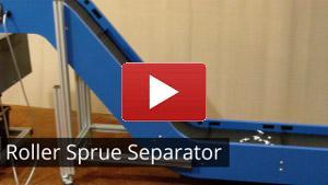 roller sprue separators for plastic parts conveyors